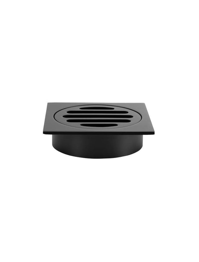 Square Floor Grate Shower Drain 80mm outlet - Matte Black (SKU: MP06-80) by Meir
