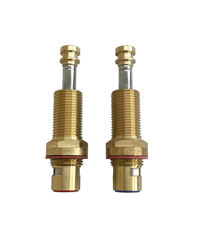 Wall top assembly Long spindles 95mm-100mm 1/4 turn (set) - Brushed Bronze