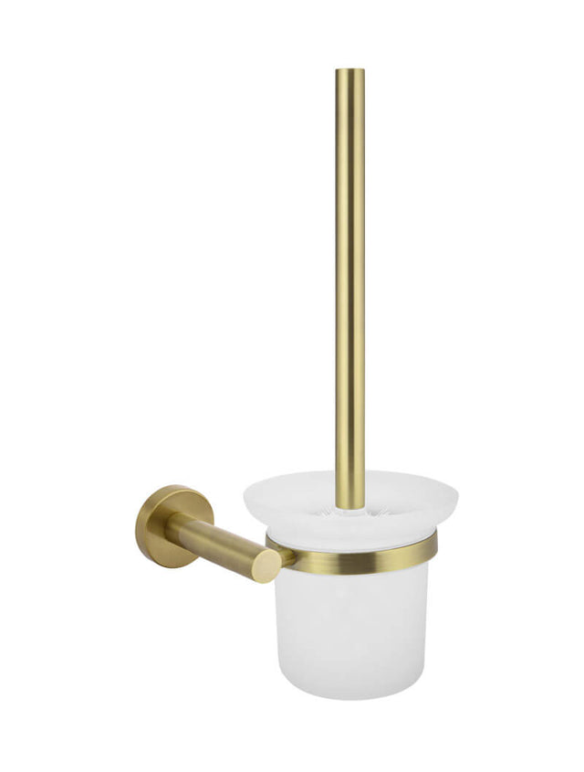 Meir Round Toilet Brush & Holder Gold - Tiger Bronze Gold (SKU: MTO01-R-BB) Image - 1