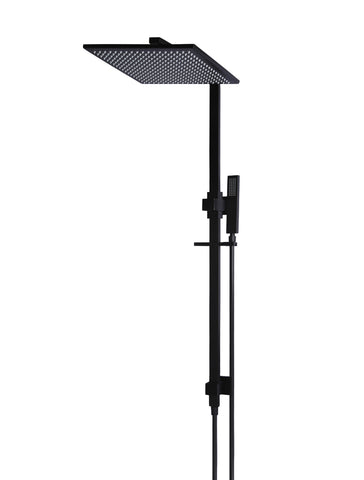 Square King 2-in-1 Matte Black Shower Rail Set