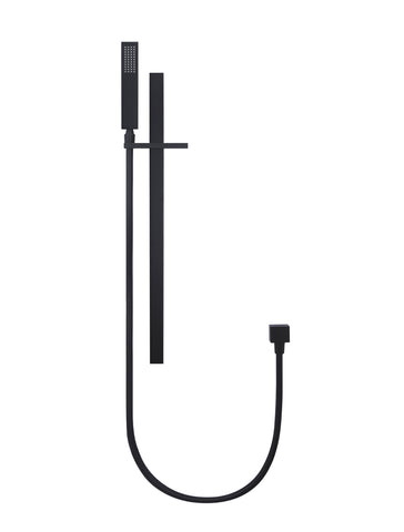 Square Matte Black Shower Column with Portable Hand Shower