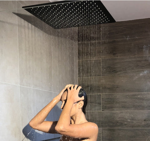 500mm Matte Black Shower (w/ceiling dropper) - Matte Black