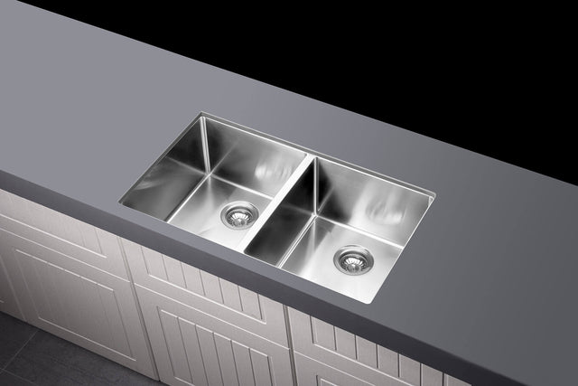 Meir Kitchen Sink - Double Bowl 760 x 440 - Brushed Nickel (SKU: MKSP-D760440-NK) Image - 2