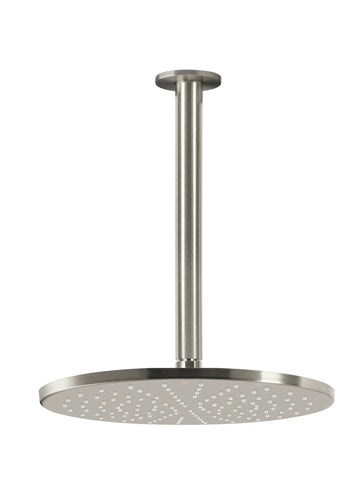 Round Ceiling Shower 300mm Rose, 300mm Dropper - Brushed Nickel