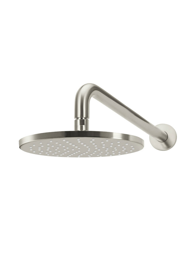 Meir Round Wall Shower 250mm rose, 400mm curved arm - PVD Brushed Nickel (SKU: MA0905-PVDBN) Image - 1