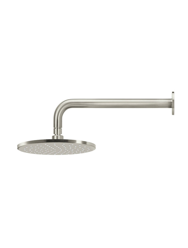 Meir Round Wall Shower 250mm rose, 400mm curved arm - PVD Brushed Nickel (SKU: MA0905-PVDBN) Image - 3