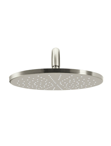 Round Wall Shower 300mm rose, 400mm curved arm - Brushed Nickel