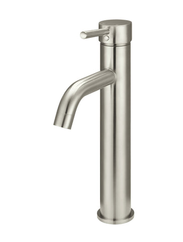 Round Tall Basin Mixer Curved - PVD Brushed Nickel
