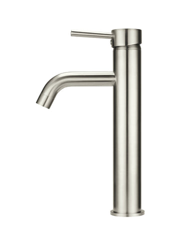 Round Tall Curved Basin Mixer - Brushed Nickel
