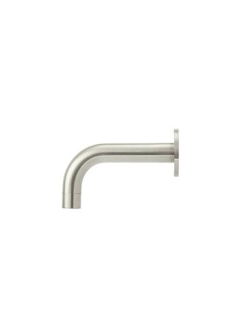 Round Curved Basin Wall Spout 130mm - Brushed Nickel