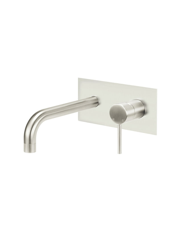 Meir Round Wall Bath Mixer and Curved Spout - Brushed Nickel (SKU: MC05-PVDBN) Image - 1