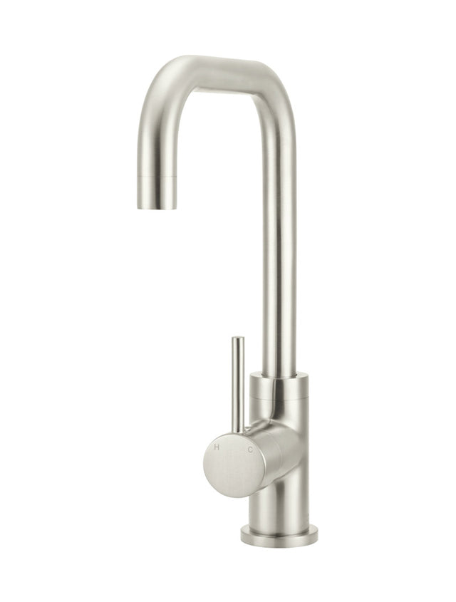 Meir Round Kitchen Mixer Tap Curved - PVD - Brushed Nickel (SKU: MK02-PVDBN) Image - 1