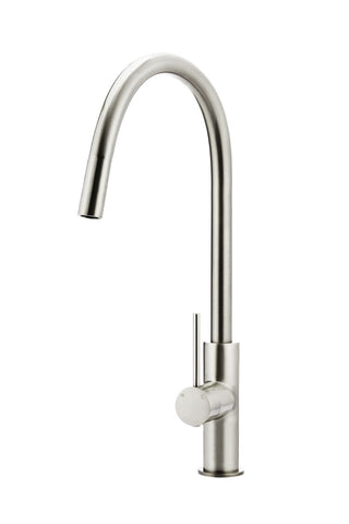 Round Piccola Pull Out Kitchen Mixer Tap - Brushed Nickel