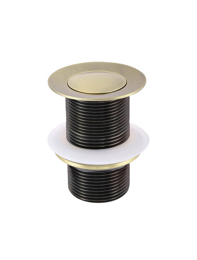 Meir Basin Pop Up Waste 32mm - No Overflow / Unslotted Gold - Tiger Bronze Gold (SKU: MP04-B-BB) Image - 3
