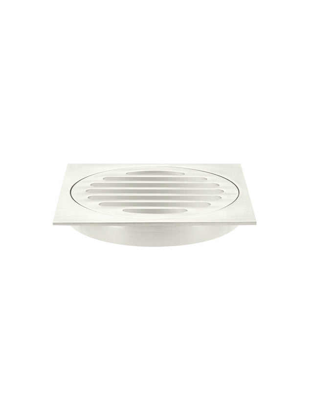Meir Square Floor Grate Shower Drain 100mm outlet - PVD - Brushed Nickel (SKU: MP06-100-PVDBN) Image - 1