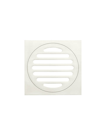 Square Floor Grate Shower Drain 100mm outlet - Brushed Nickel
