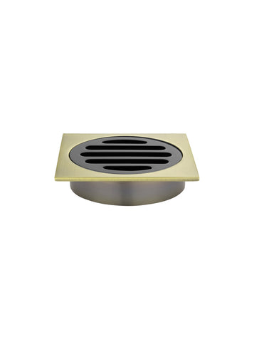 Square Floor Grate Shower Drain 80mm outlet - Gold & Black