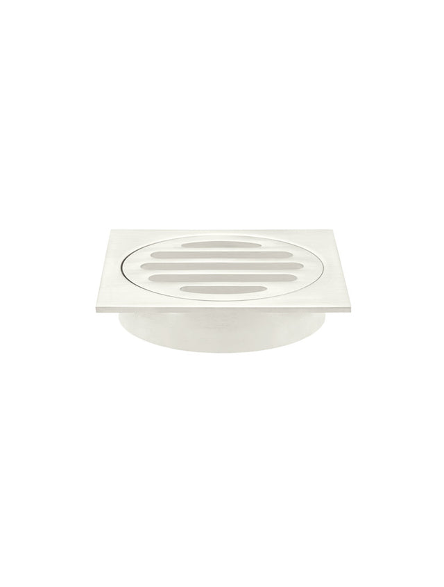 Meir Square Floor Grate Shower Drain 80mm outlet - PVD Brushed Nickel (SKU: MP06-80-PVDBN) Image - 1