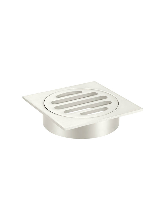 Meir Square Floor Grate Shower Drain 80mm outlet - PVD Brushed Nickel (SKU: MP06-80-PVDBN) Image - 3