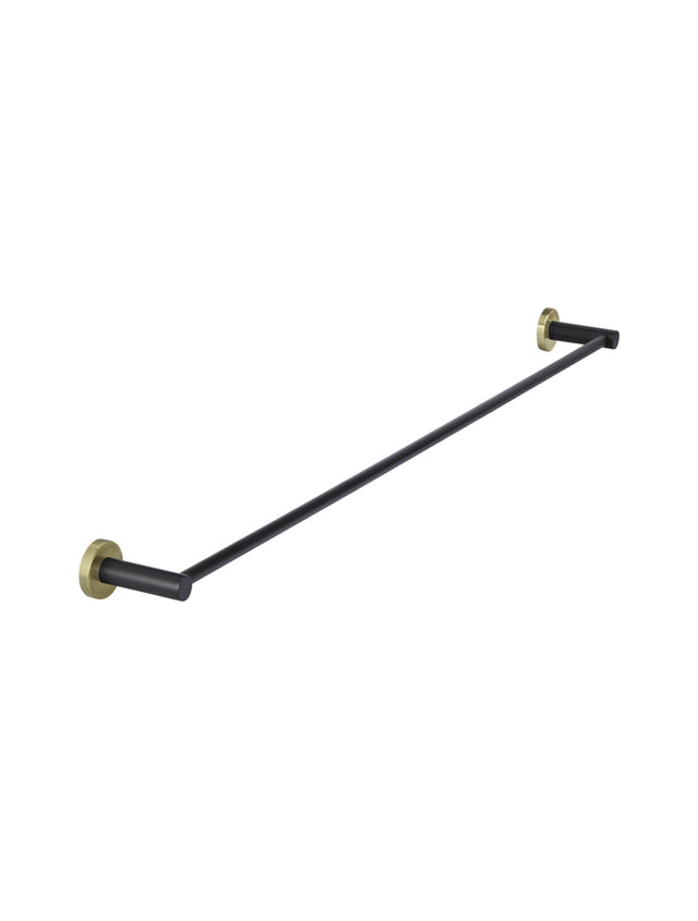 Meir Round Single Towel Rail - Black & Gold - Black & Gold (SKU: MR01-SR90-BG) Image - 1