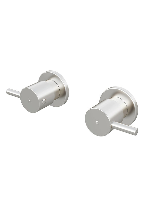 Meir Round Quarter Turn Wall Top Assemblies - Brushed Nickel (SKU: MW06-PVDBN) Image - 1