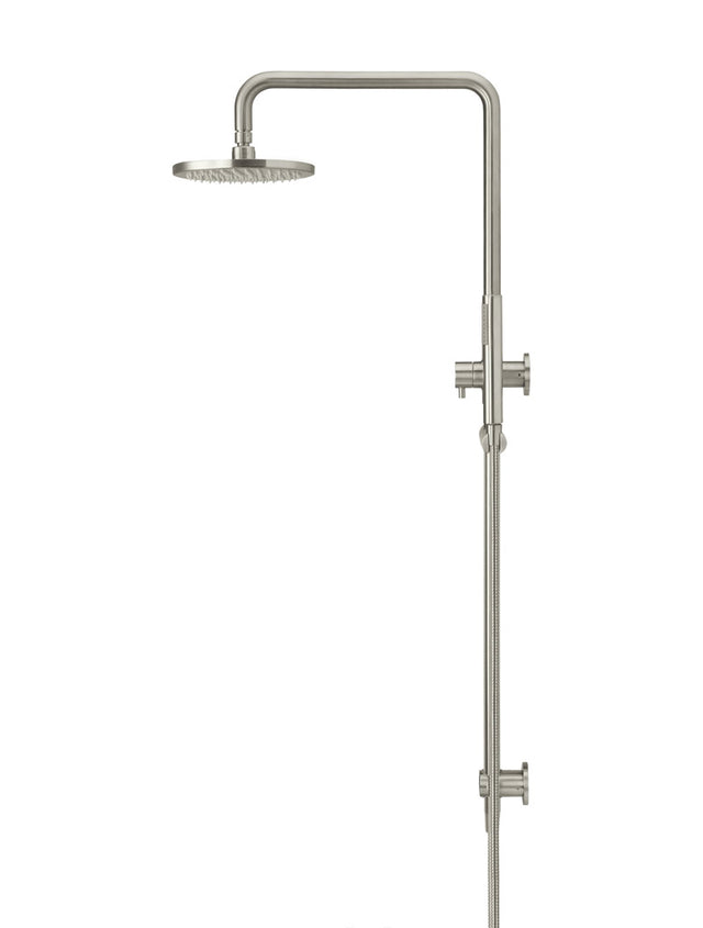 Meir Round Combination Shower Rail, 200mm Rose, Single Function Hand Shower - PVD Brushed Nickel (SKU: MZ0704-R-PVDBN) Image - 2