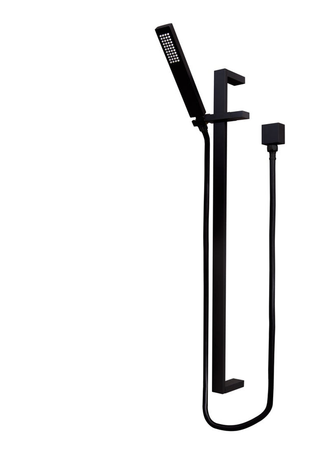 Meir Square Shower on Rail Column - Matte Black (SKU: MZ0401) Image - 3