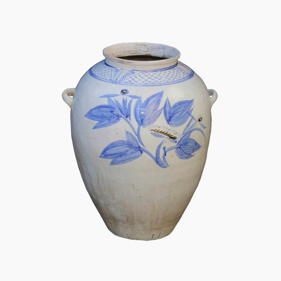 North Korean Blue & White Jar w/Flowers