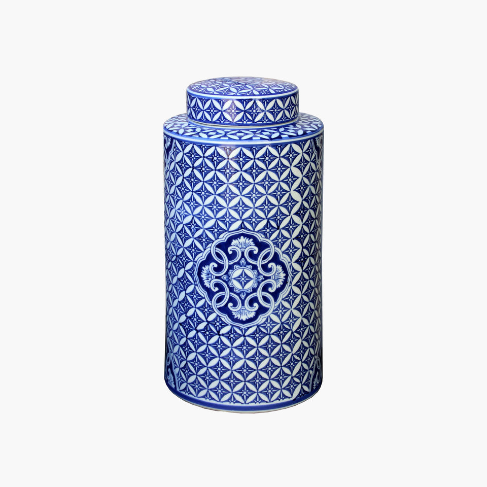Blue & White Jar w/lid