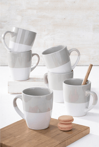 6PC DIPPED GREY MUG