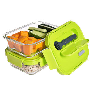 Set of 2 Glass Food Lunch Container
