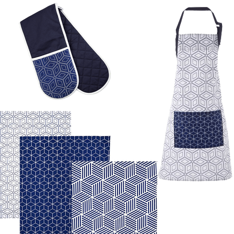 Kitchen Linen Set - Geometric Blue