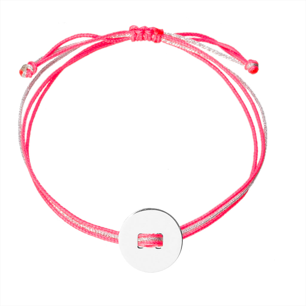 customizable bracelet with round charm in silver 925