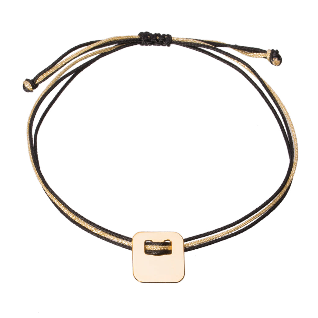 customizable bracelet with square charm in gold plated