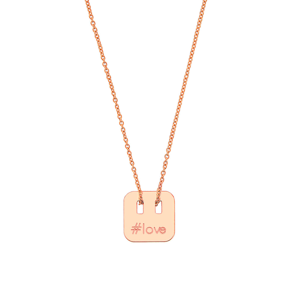 necklace with hashtag in silver 925, gold plated and rose gold plated
