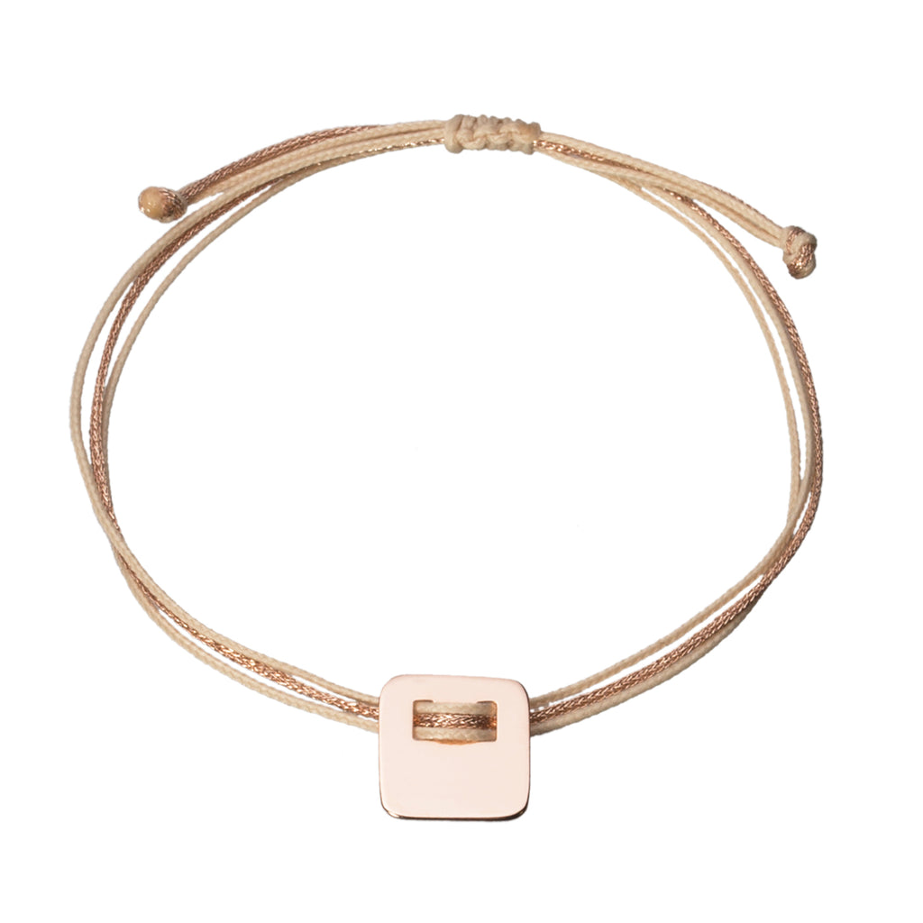 customizable bracelet with square charm in rose gold plated