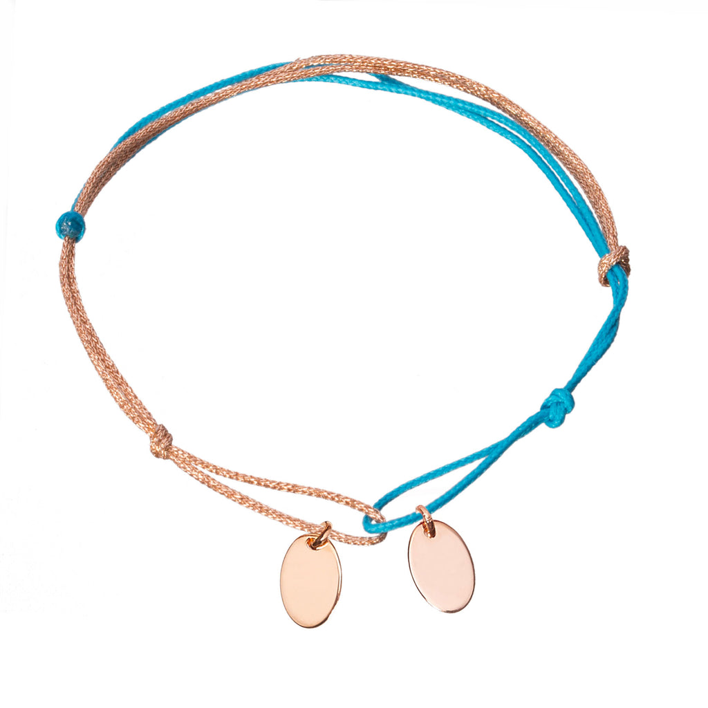 customizable bracelet with 2 charms in rose gold plated