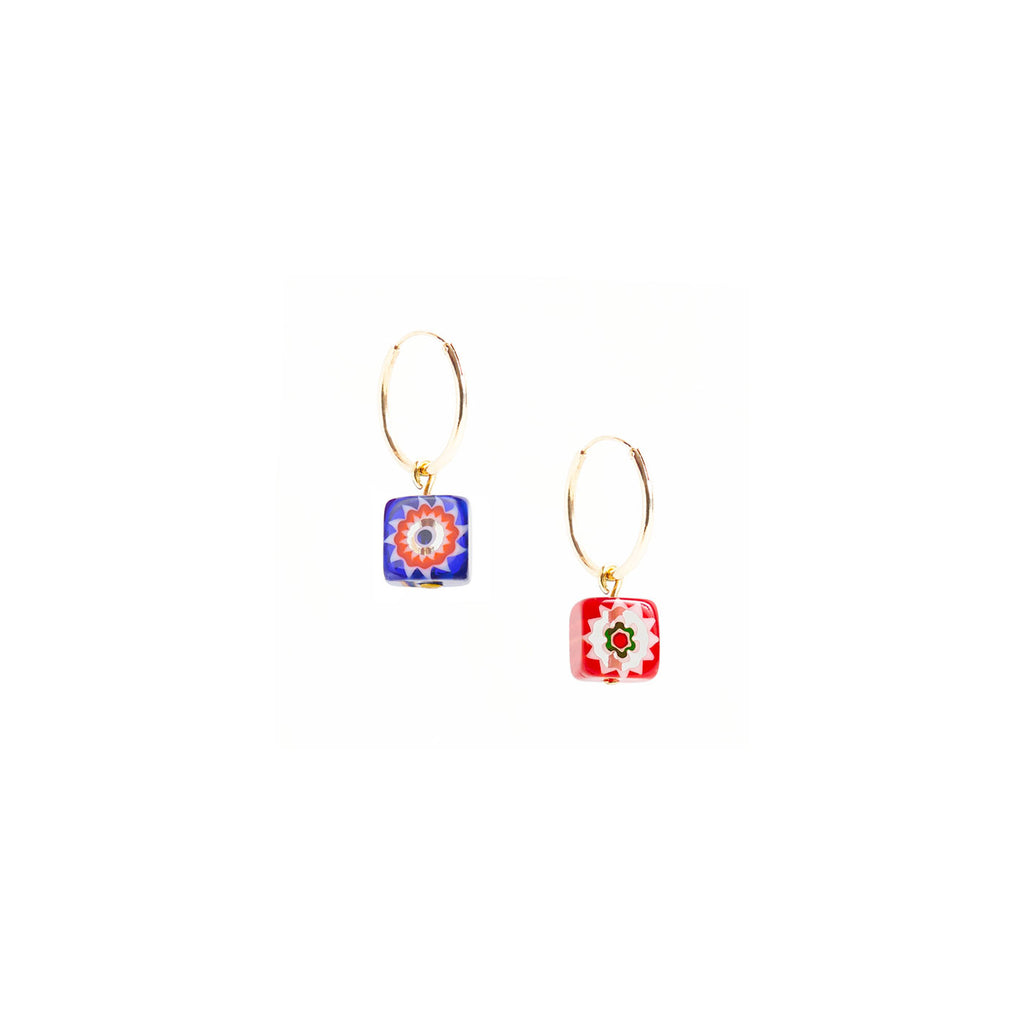 earrings with square beads, Murano glass
