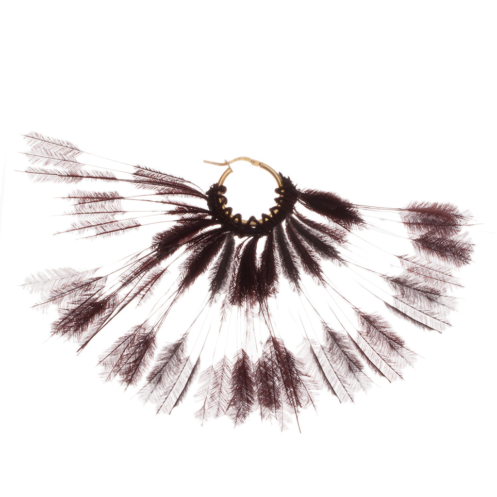 small creole in gold-plated silver with feather