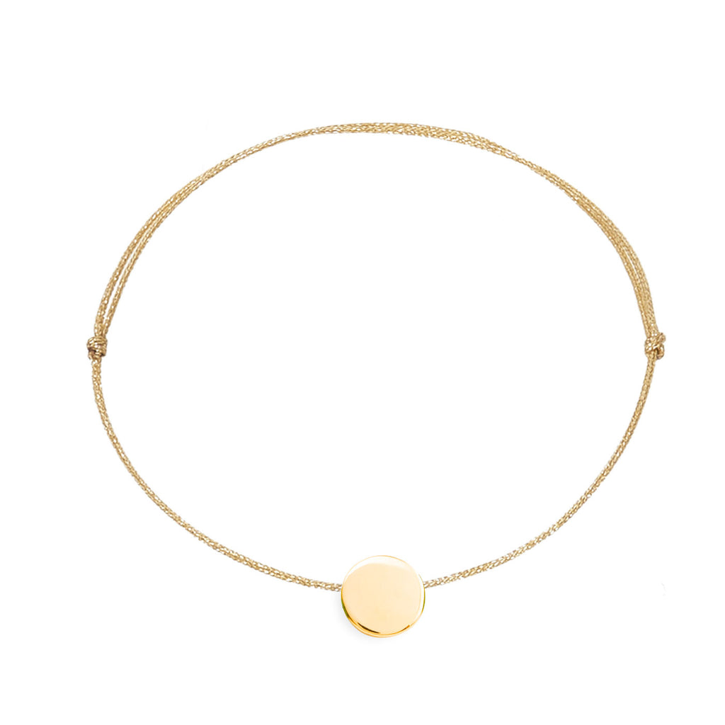 bracelet customizable with a small round medal in 925 silver, gold plated or rose gold plated