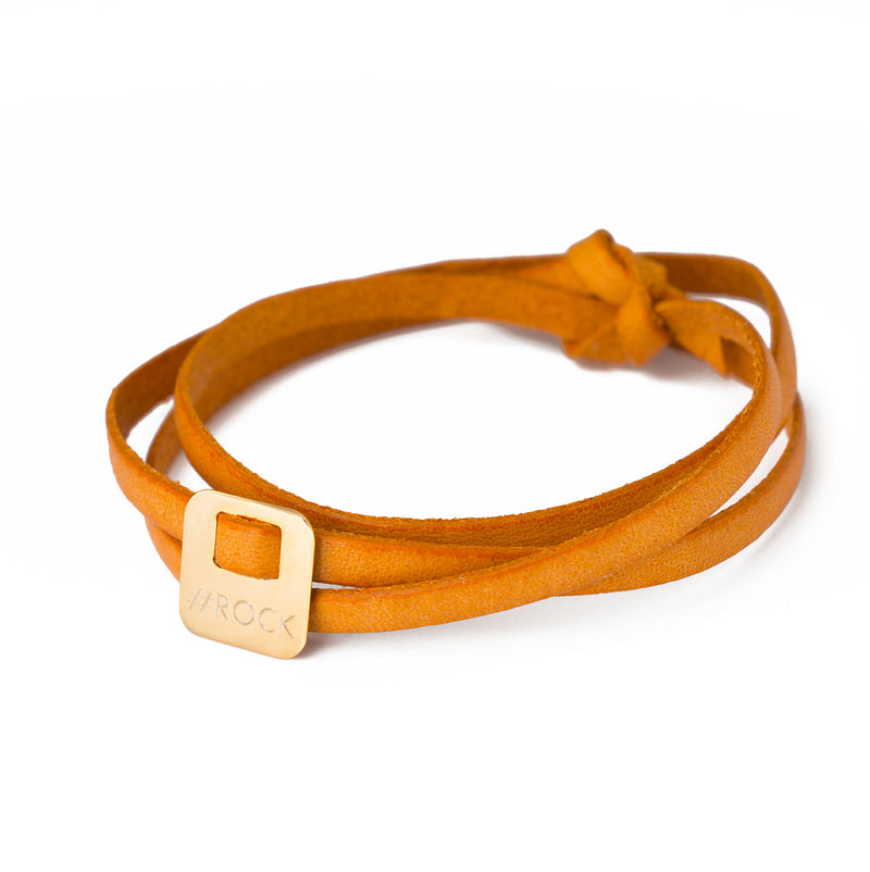 leather bracelet with hashtag in gold plated