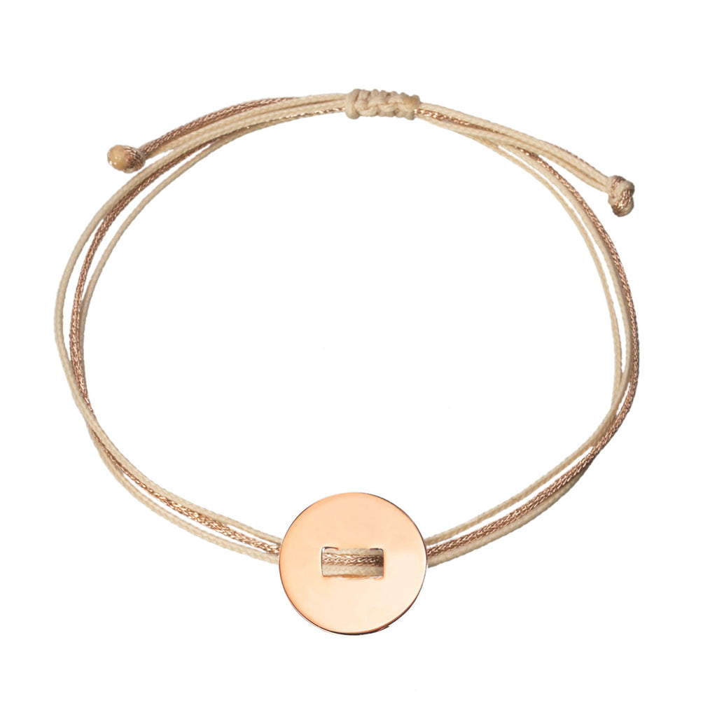 customizable bracelet with round charm in rose gold plated