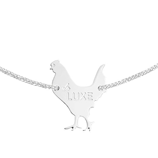 "bracelet with a ""luxury chicken"" in silver 925, gold plated and plated rose gold"