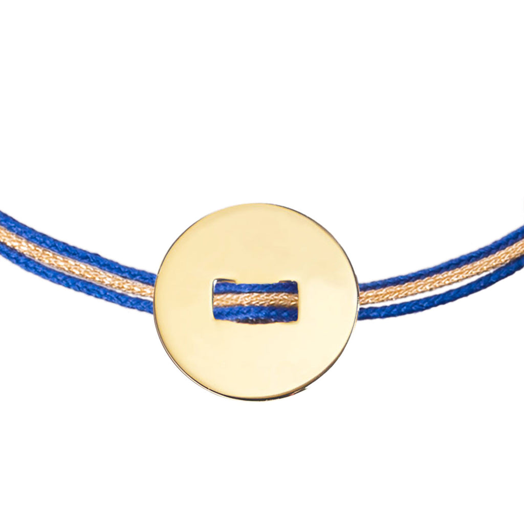 Customizable bracelet with gold-plated round medal