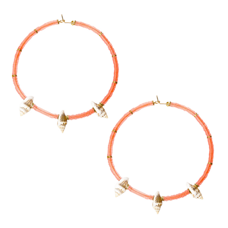 hoops with sequins and shells