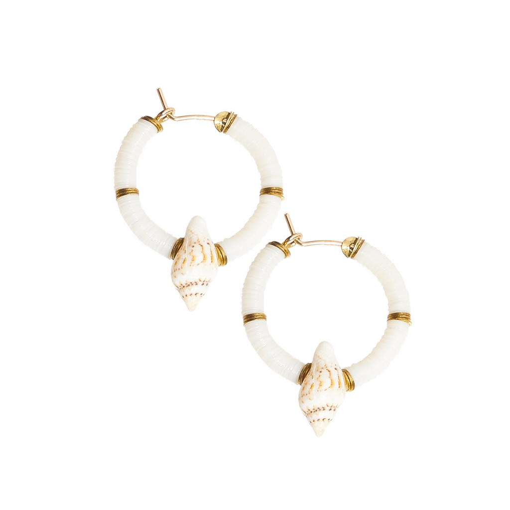 mini hoops with sequins and shells