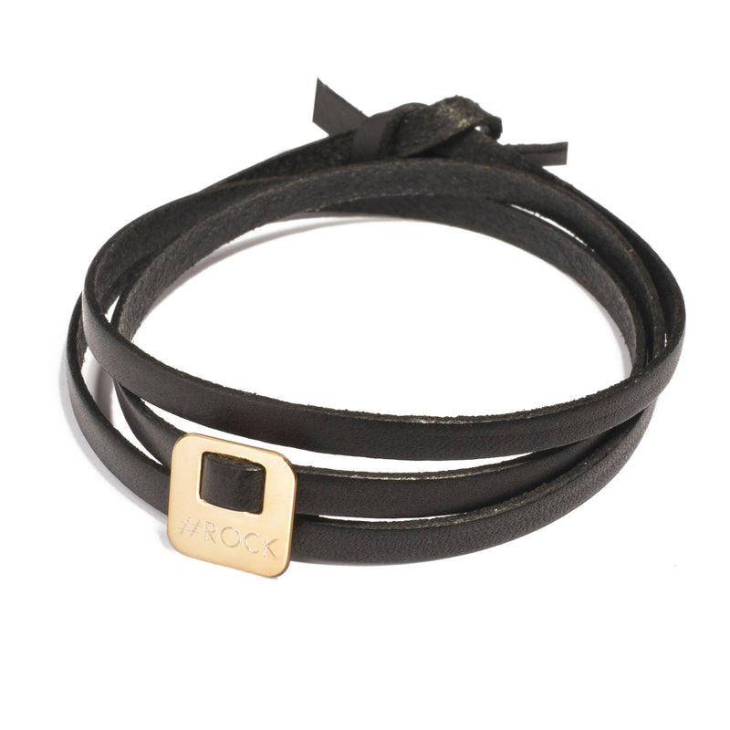 leather bracelet with a square charm in gold plated