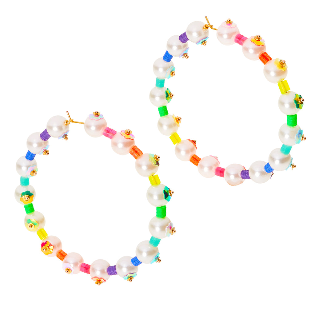 hoops with sequins and pearls