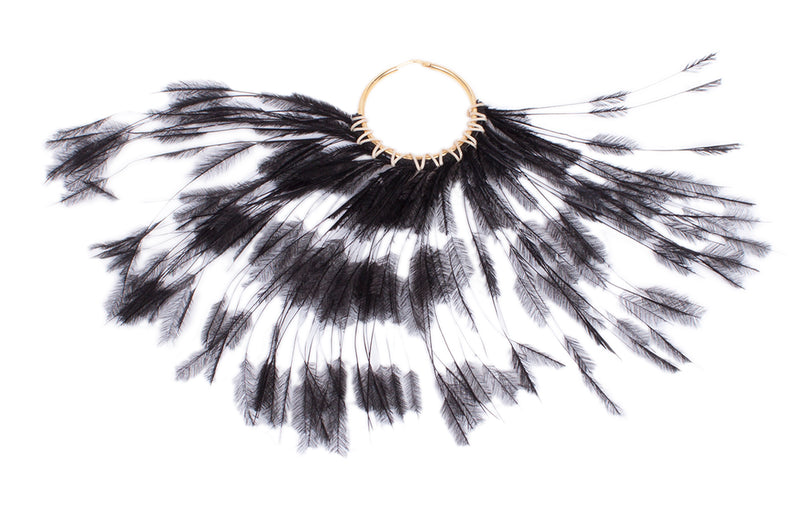 big hoop in silver gold plated with feather