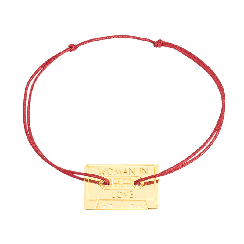 bracelet with a cassette in gold plated
